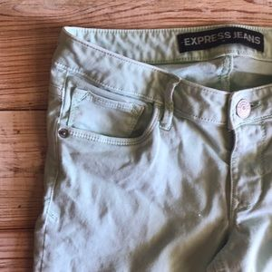 Express jeggings, green, size 4